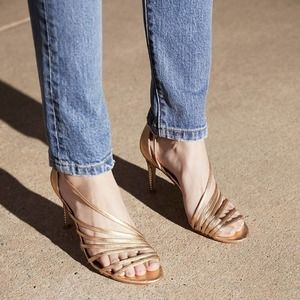 Free People gold straps disco fever heels